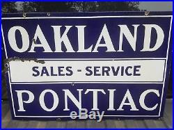 Vintage Oakland Pontiac Double Sided Porcelain Dealership Sign