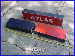 Vintage Old ATLAS Tire Advertising Car Truck Wood Display Gas Station Sign Stand