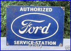 Vintage Old Rare Authorized Ford Service Station Ad Porcelain Enamel Sign Board