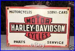 Vintage Old Rare Harley Davidson Motor Cycles Ad Porcelain Enamel Sign Board