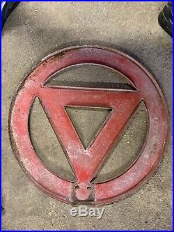 Vintage Old Warning Street Road Sign Petrol Oil Automobilia Garage Mancave