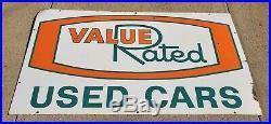 Vintage Oldsmobile Dealership Porcelain Sign Value Rated Used Cars SSP 54x30 HTF