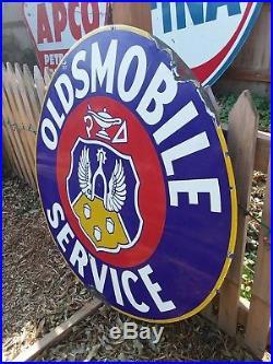 Vintage Original 42 Oldsmobile Service Porcelain Enamel Dealership Sign