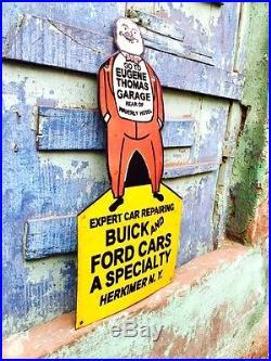 Vintage Original Buick And Ford Car Waverly Hotel Porcelain Enamel Sign 24x11.5
