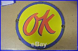 Vintage Original Chevrolet OK Used Cars Porcelain Sign No Reserve