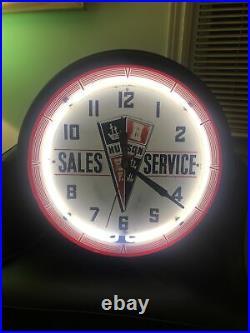 Vintage Original Hudson Motor Company Neon Advertising Clock