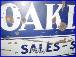 Vintage Original Oakland-pontiac Sales & Service 2 Side Porcelain Sign-car