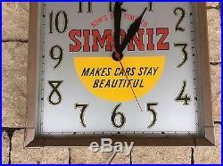 Vintage Original Simoniz Car Wax Clock Advertising Sign Gas & Oil