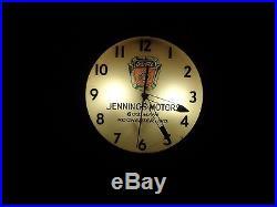 Vintage Pam Ford 50's Truck Emblem Jennings Motors Rochester Ind Lighted Clock