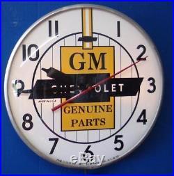 Vintage Pam GM CHEVROLET GENUINE PARTS Lighted Advertising Clock