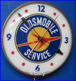 Vintage Pam Lighted Advertizing Clock OLDSMOBILE SERVICE