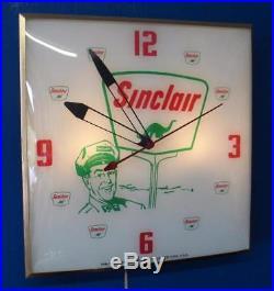Vintage Pam SINCLAIR MAN With DINO Lighted Advertising Clock