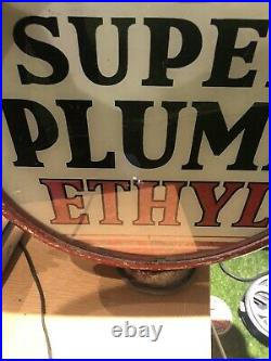 Vintage Petrol Globe Light Original Casing Super Plume Ethyl