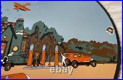 Vintage Phillips 66 Porcelain Sign Car Gas Oil Gasoline Automotive Airplane 1936
