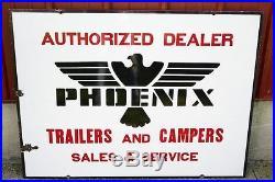 Vintage Phoenix car travel Trailer Camper Porcelain dealership sign airstream