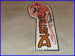 Vintage Plymouth Duster + Tornado Guy 14 Metal 2 Door Car Gasoline & Oil Sign