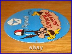 Vintage Plymouth Wile E Coyote Duster Mopar 11 3/4 Porcelain Metal Gas Oil Sign