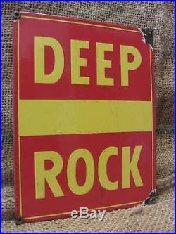 Vintage Porcelain Deep Rock Gas Pump Sign Antique Auto Oil Service Station 9554