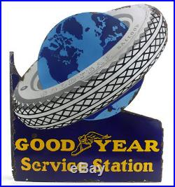 Vintage Porcelain Goodyear Service Station Double Sided Flange Sign
