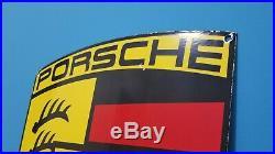 Vintage Porcelain Large Porsche Dealership Service Stuttgart Automobile Sign