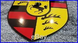 Vintage Porcelain Porsche Service Stuttgart Dealership Sales Gas Automobile Sign