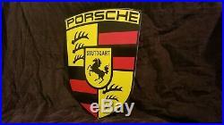 Vintage Porsche Porcelain Gas Automobile Stuttgart Dealership Service Sign