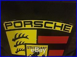 Vintage Porsche Stuttgart Dealers Porcelain Steel Sign Sports Car Boxter 911 Gas