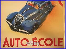 Vintage Poster Auto Ecole Gilbert French Stone Lithograph 1930's