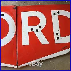 Vintage RARE 9' Ford Tractors Porcelain Neon Sign Dealership Gas Oil Chevy Dodge