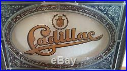 Vintage RARE Cadillac Stained Glass Framed Window Dealer Display