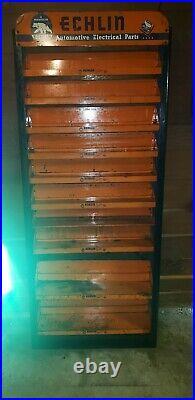 Vintage RARE Echlin NAPA Auto Metal Wall Advertisement Cabinet Display Shelves