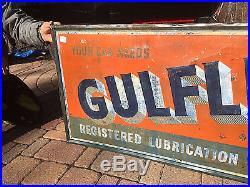 Vintage Rare 1948 Gulf Gulflex Lubrication Automobile Service Metal Sign Gas Oil