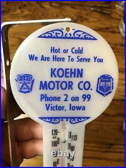 Vintage Rare Ford Tractor Motor Car Dealer Nos Victor Iowa Sign Logo Thermometer