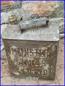 Vintage Rare Munster Simms & Co Ltd 2 Gallon Petrol Can Oil Automobilia Old