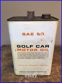 Vintage Rare NOS Harley Davidson Golf Car Motor Oil One Gallon Metal Oil Can