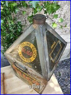 Vintage Redline Glico Ltd Motor Oil 5 Gallon Pyramid Can Rare Automobilia Garage