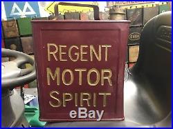 Vintage Regent Motor Spirit Petrol Can Oil Tin Automobilia Cap