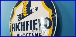 Vintage Richfield Gasoline Porcelain Gas Service Station Auto Pump Plate Sign