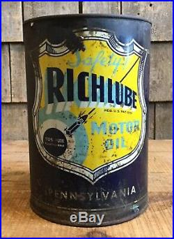 Vintage Richlube Richfield Motor Oil 5 Qt Tin Can Sign Gas Station Race Car