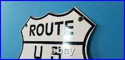 Vintage Route 66 Porcelain Gas Auto Mother Road Shield Travel Service Sign