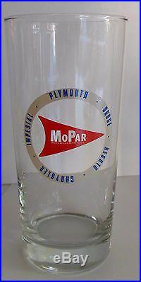 Vintage Set of 4 MOPAR Dodge Plymouth Chrysler Tall Drinking Glasses Tumbler