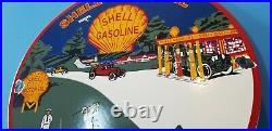 Vintage Shell Gasoline Porcelain Gas Service Pebble Beach Station Pump Auto Sign