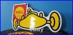 Vintage Shell Gasoline Porcelain Race Car Automobile Service Station Pump Signs