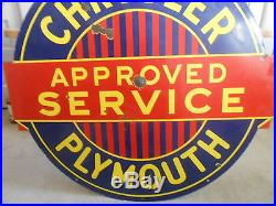 Vintage Sign Chrysler Plymouth Approved Service Double Sided Porcelain 441/2x42