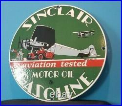 Vintage Sinclair Gasoline Porcelain Gas Pump Old Car Ww2 Aviation Airplane Sign