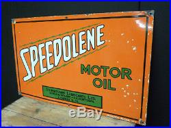 Vintage Speedolene Motor Oil enamel garage sign
