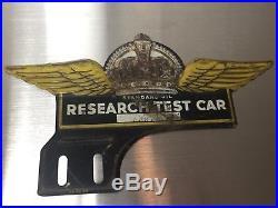 Vintage Standard Oil Research Test Car License Plate Topper Sign Gold Crown 30s