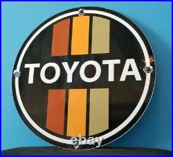 Vintage Toyota Motor Co Porcelain Gas Auto Sales Service Dealership Sign