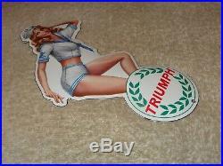 Vintage Triumph Motorcycle Pin Up Model 8 Porcelain Metal Car Gasoline Oil Sign