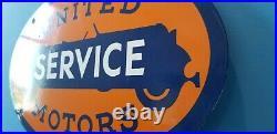 Vintage United Motor Service Porcelain Gasoline & Oil Chevy Auto Service Sign